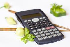 Calorías calculadoras Imagenes de archivo