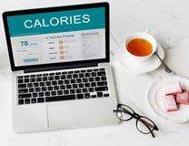 Calorías de la nutrición de la comida de concepto del ejercicio Fotos de archivo libres de regalías