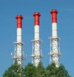 Calor e central elétrica de três tubulações Fotografia de Stock