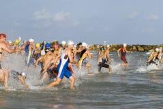 Calor olímpico del triathlon de Tel Aviv Imágenes de archivo libres de regalías
