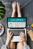 Calorías de la nutrición de la comida de concepto del ejercicio Imagen de archivo
