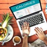 Calorías de la nutrición de la comida de concepto del ejercicio Imagenes de archivo