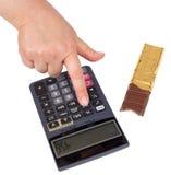 Calorias calculadoras (com trajetos de grampeamento) Fotos de Stock Royalty Free