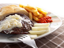 Caloric meal. Unhealthy caloric meal with a lot of fat but very tasty royalty free stock image