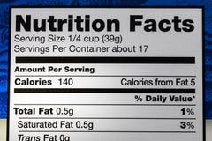 Calorieën trans vette de voedingsfeiten van het voedseletiket stock afbeelding