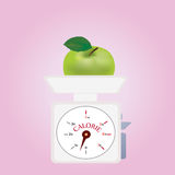 Calorie Balance with Green Apple Royalty Free Stock Photo