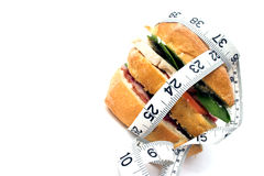 Calorie counter... Low fat sandwich Royalty Free Stock Photography