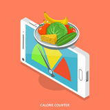 Calorie counter flat isometric vector concept. Smartphone like scales that show food calorie count Stock Photo