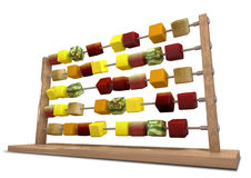 Calorie Counting. An abacus with stylized cubes of whole fruits as the counters Stock Image