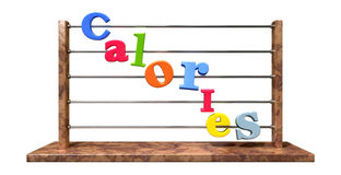 Calorie Counting Abacus. An abacus with various colored letters placed to spell out the word calories on an isolated white background Stock Photos
