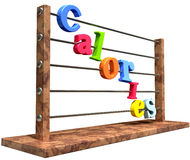 Calorie Counting Abacus. An abacus with various colored letters placed to spell out the word calories on an isolated white background Stock Photo
