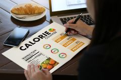 CALORIE  counting counter application Medical eating healthy Die Stock Photography