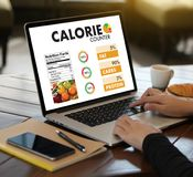 CALORIE  counting counter application Medical eating healthy Die Royalty Free Stock Image