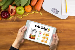 CALORIE  counting counter application Medical eating healthy Die Stock Images