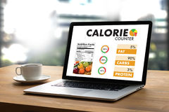 CALORIE  counting counter application Medical eating healthy Die Royalty Free Stock Photo