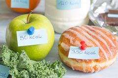 Calorie counting and food with labels Stock Photos