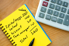 Free Calorie Counting On A Paper With Calculator. Stock Photo - 55414740