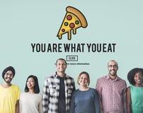 Calorie degli alimenti industriali di concetto non sano di obesità Fotografia Stock Libera da Diritti
