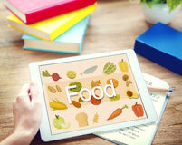 Calorie dell'alimento che pranzano bere mangiando concetto di nutrizione Fotografie Stock Libere da Diritti