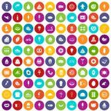 100 calorie di colore fissato icone illustrazione vettoriale