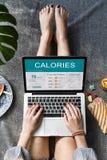 Calorie di nutrizione dell'alimento di concetto di esercizio Immagine Stock