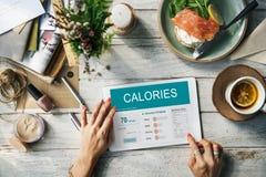 Calorie di nutrizione dell'alimento di concetto di esercizio Fotografia Stock Libera da Diritti