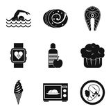 Calorie icons set, simple style. Calorie icons set. Simple set of 9 calorie vector icons for web isolated on white background Stock Photo