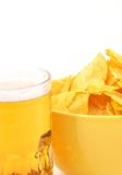 Calorie menu. Beer and chips on white, space for messages Stock Photo