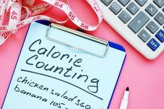 Calorie tellende lijst voor gewichtsverlies op bureau stock afbeelding
