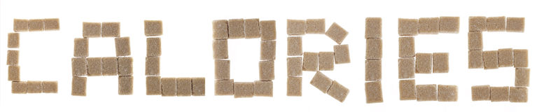 Calories. Word calories written with sugar cubes on white Royalty Free Stock Photo