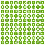 100 calories icons hexagon green. 100 calories icons set in green hexagon isolated vector illustration Stock Images