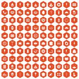 100 calories icons hexagon orange. 100 calories icons set in orange hexagon isolated vector illustration Royalty Free Illustration