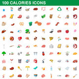 100 calories icons set, cartoon style Royalty Free Stock Image
