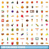 100 calories icons set, cartoon style. 100 calories icons set in cartoon style for any design vector illustration Royalty Free Stock Images