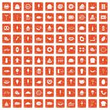 100 calories icons set grunge orange. 100 calories icons set in grunge style orange color isolated on white background vector illustration Royalty Free Stock Photos