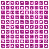 100 calories icons set grunge pink. 100 calories icons set in grunge style pink color isolated on white background vector illustration Royalty Free Stock Images