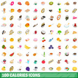 100 calories icons set, isometric 3d style. 100 calories icons set in isometric 3d style for any design vector illustration Stock Images
