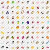 100 calories icons set, isometric 3d style. 100 calories icons set in isometric 3d style for any design vector illustration Royalty Free Stock Photos