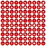 100 calories icons set red. 100 calories icons set in red circle isolated on white vectr illustration Royalty Free Stock Photos