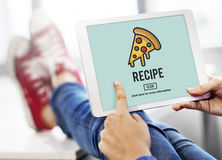 Calories Junk Food Unhealthy Obesity Concept. Guy using tablet pizza graphic recipe word screen Stock Image