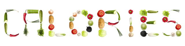Calories word made of vegetables Stock Image