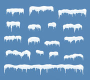 Calotte glaciali messe Cumuli di neve, ghiaccioli, decorazione di inverno degli elementi Immagini Stock
