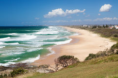 Caloundra Strand vom PunktCartwright, Queensland Stockbild