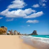Calpe Alicante Arenal Bol beach with Penon de Ifach. Mountain in Mediterranean sea of Spain Royalty Free Stock Photo