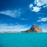 Calpe Alicante Arenal Bol beach with Penon de Ifach. Mountain in Mediterranean sea of Spain Royalty Free Stock Image