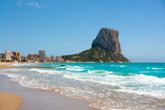 Calpe Alicante Arenal Bol beach with Penon de Ifach Stock Image