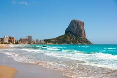 Calpe Alicante Arenal Bol beach with Penon de Ifach. Mountain in Mediterranean sea of Spain Stock Image