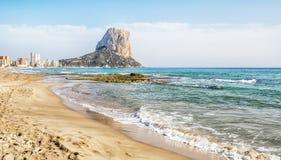 Calpe, Alicante, Arenal Bol beach with Penon de Ifach mountain. Stock Image