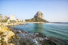 Calpe, Alicante, Arenal Bol beach with Penon de Ifach mountain. Royalty Free Stock Images