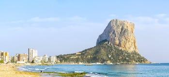 Calpe, Alicante, Arenal Bol beach with Penon de Ifach mountain. Stock Images